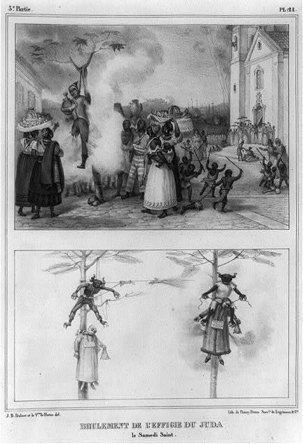 Brulement de l'effigie du juda, le samedi saint / J.B. Debret et la Vesse. de Portes, del. ; lith. de Thierry Frères, succrs. de Engelmann & Cie.