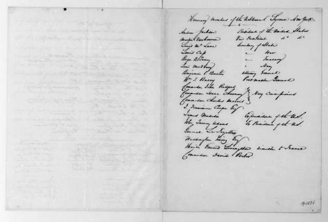 Charles Goodwin Ridgely to James Madison, February 8, 1834. Membership lists for the United States Naval Lyceum.