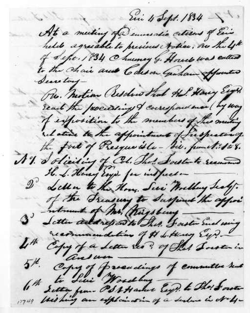 Erie Democratic Citizens to Levi Woodbury, September 4, 1834