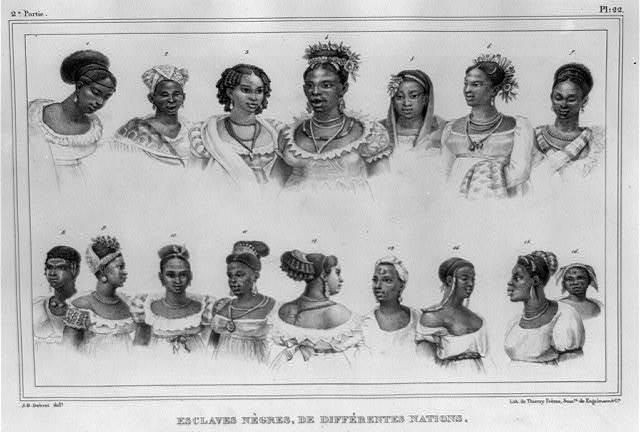 Esclaves nègres, de différentes nations / J.B. Debret, delt. ; lith. de Thierry Frères, succrs. de Engelmann & Cie.