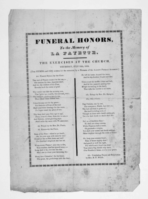 Funeral honors, to the memory of La Fayette The exercises at the church, Thursday, July 24th. 1834 ... [Albany, 1834].