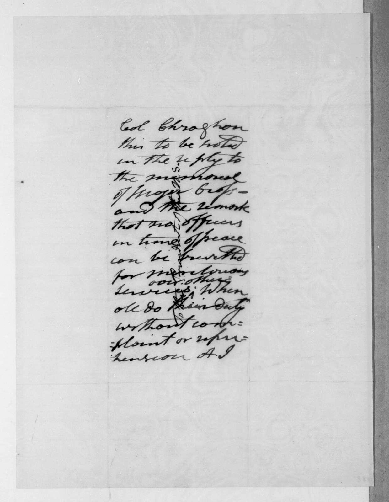 George Croghan to Andrew Jackson, December 22, 1834