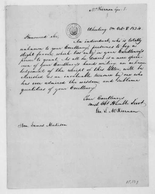 George S. McKiernan to James Madison, October 8, 1834.
