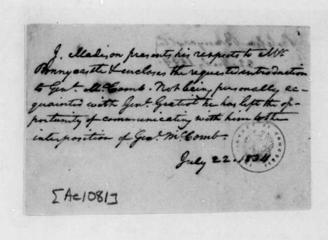 James Madison to C. Bonnycastle, July 22, 1834.