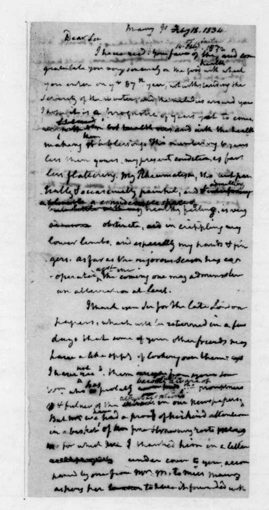 James Madison to James Maury, February 18, 1834.