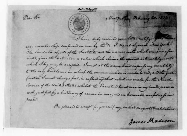 James Madison to United States Naval Lyceum, February 20, 1834.