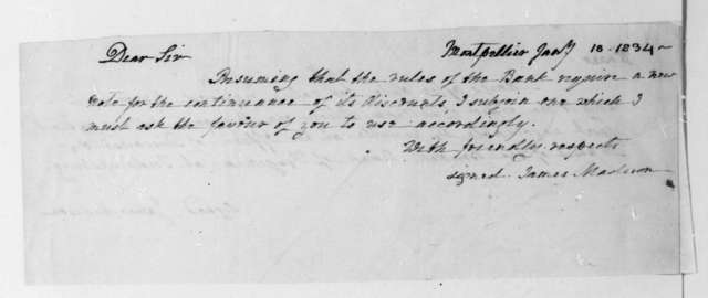James Madison to William Allen, January 18, 1834. Promissory Note.