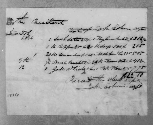John Coburn to Andrew Jackson, December 8, 1834