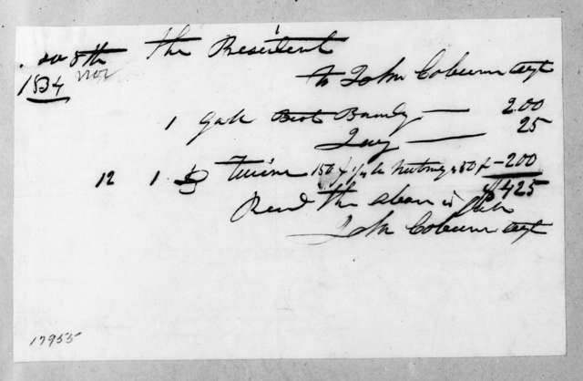 John Coburn to Andrew Jackson, November 12, 1834