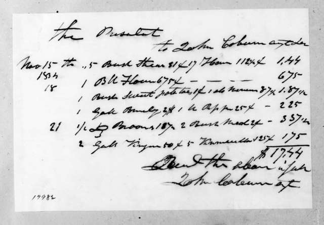 John Coburn to Andrew Jackson, November 21, 1834