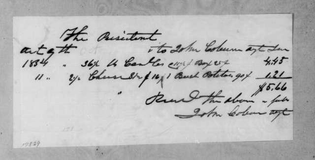 John Coburn to Andrew Jackson, October 9, 1834