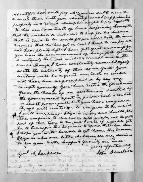 John Donelson to Andrew Jackson, May 4, 1834