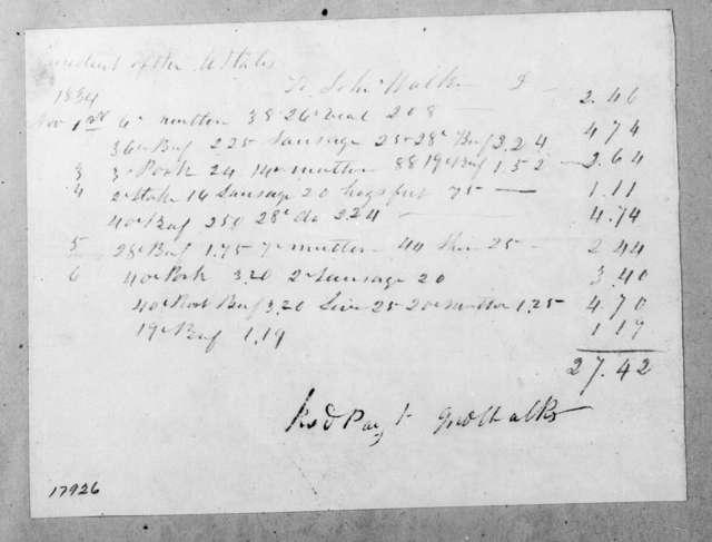 John Walker to Andrew Jackson, November 6, 1834