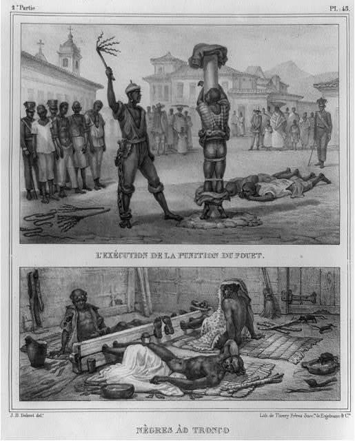 L'exécution de la punition de fouet ; Nègres ào tronco / J.B. Debret, delt. ; lith. de Thierry Frères, succrs. de Engelmann & Cie.