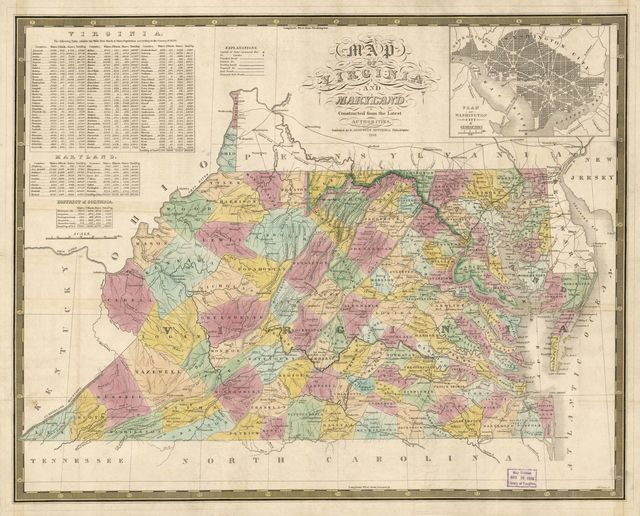 Map of Virginia and Maryland : constructed from the latest authorities.
