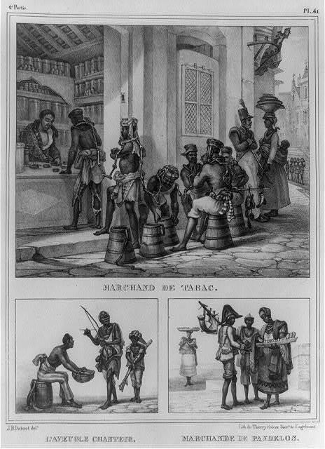 Marchand de tabac ; L'aveugle chanteur ; Marchande de pandelos / J.B. Debret, delt. ; lith. de Thierry Frères, succrs. de Engelmann.