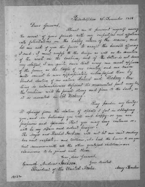 Mary Barker to Andrew Jackson, December 25, 1834