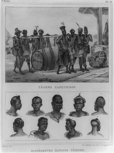 Nègres cangueiros ; Différentes nations nègres / J.B. Debret, delt. ; lith. de Thierry Frères, succrs. de Engelmann & Cie.