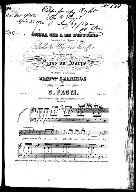 Ombra che a me d'intorno, cavatina [from] the opera Gabrielle de Vergi.caraffa, op. 3