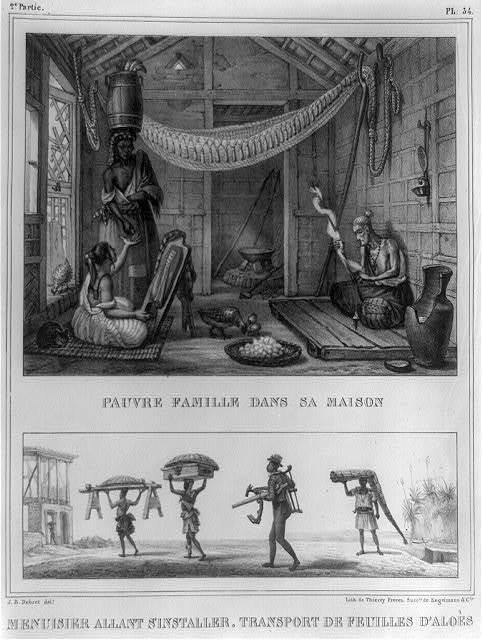Pauvre famille dans sa maison ; Menuisier allant s'installer, transport de feuilles d'aloès / J.B. Debret, delt. ; lith. de Thierry Frères, succrs. de Engelmann & Cie.