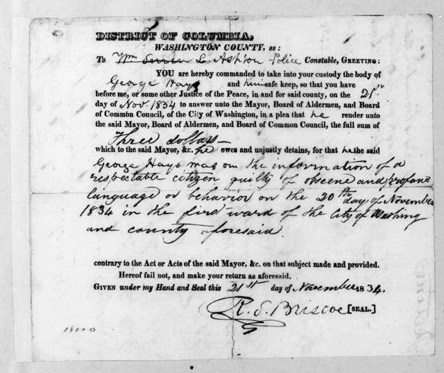 R. S. Briscoe to L. Ashton, November 21, 1834