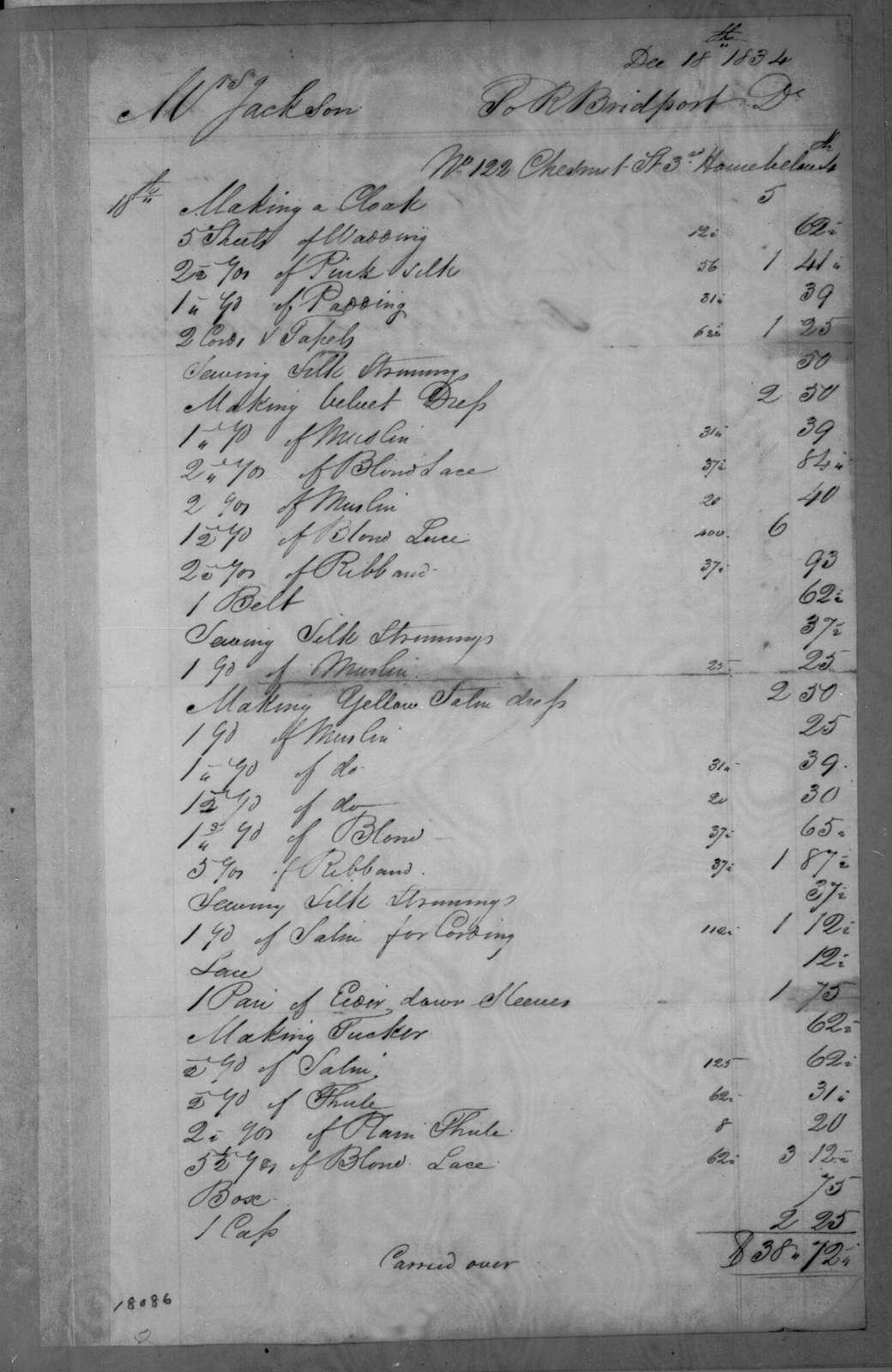 Rachel Bridport to Sarah Yorke Jackson, December 18, 1834