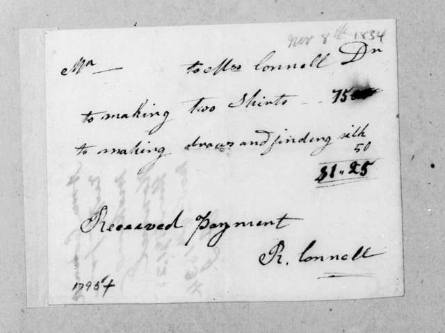 Rebecca Connell to Andrew Jackson, November 8, 1834