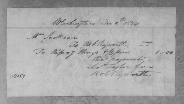 Robert Keyworth to Sarah Yorke Jackson, December 8, 1834