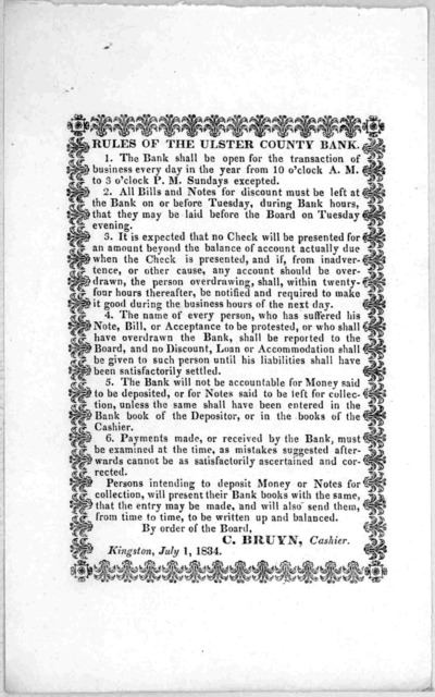 Rules of the Ulster County Bank ... C. Bruyn Cashier. Kingston, July 1, 1834.