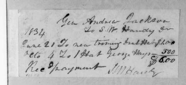 S. W. Handy to Andrew Jackson, October 4, 1834