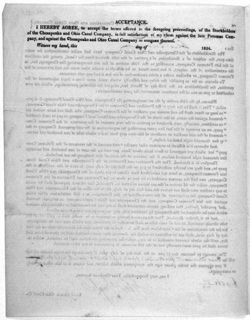 Sir: The stockholders of the Chesapeake and Ohio canal company have had under consideration for some time past, the subject of a distribution of a portion of the tolls derived from the canal, among the creditors of the late Potomac company ... W