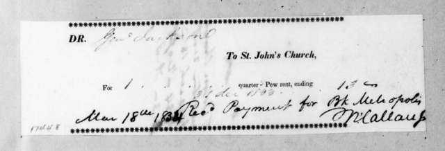 St. John's Church to Andrew Jackson, March 18, 1834