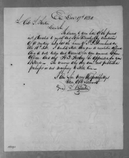 T. Beebe to Thomas Forster, December 19, 1834