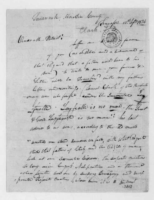 Thomas Dyson Clark to James Madison, September 12, 1834.