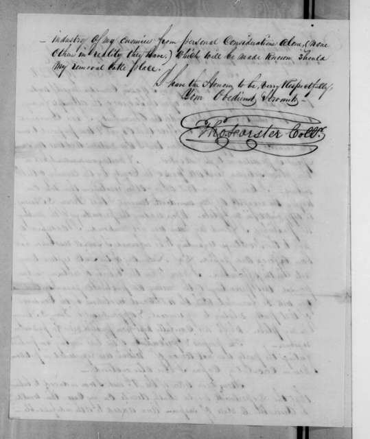 Thomas Forster to Levi Woodbury, December 19, 1834
