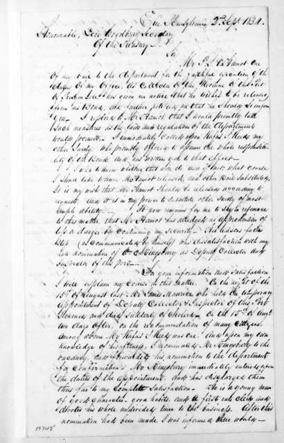 Thomas Forster to Levi Woodbury, September 2, 1834