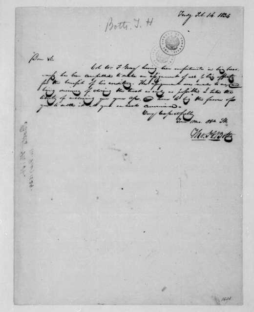 Thomas H. Botts to James Madison, February 14, 1834.