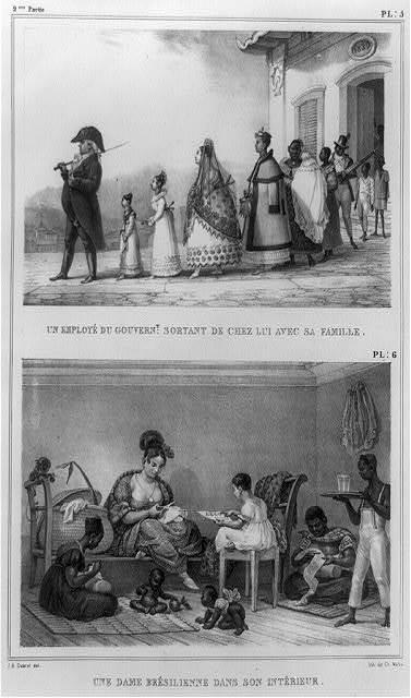 Un employé du gouvernt., sortant de chez lui avec sa famille ; Une dame brésilienne dans son intérieur / J.B. Debret, del. ; lith. de Ch. Wolfe.