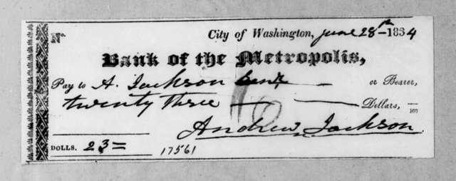 Washington D. C. Metropolis Bank to Andrew Jackson, June 26, 1834