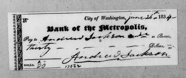Washington D. C. Metropolis Bank to Andrew Jackson, June 28, 1834