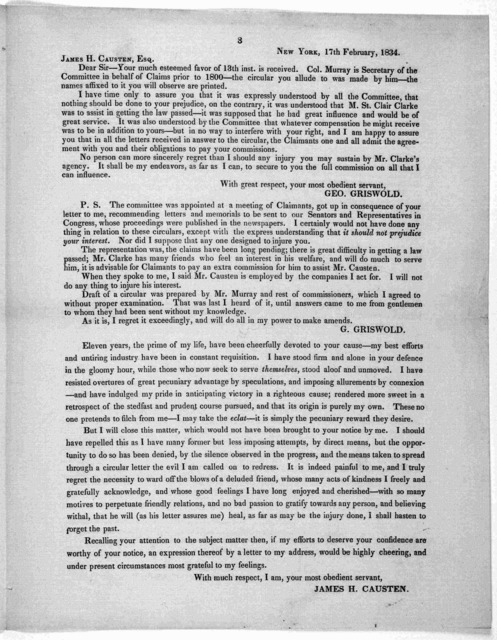 Washington, February 20, 1834. The necessity of submitting to you the following correspondence will be manifest, without any preliminary remark from me. It is laid before you as an imperative duty to you, no less than to myself; and I persuade m