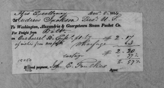 Washington Steam Packet Company to Andrew Jackson, December 5, 1834