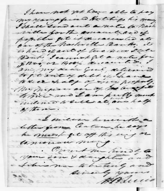 William Berkeley Lewis to Andrew Jackson, July 25, 1834