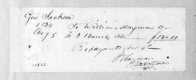 William Hayman to Andrew Jackson, August 5, 1834