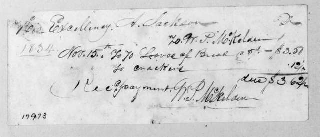 William P. McKelden to Andrew Jackson, November 15, 1834