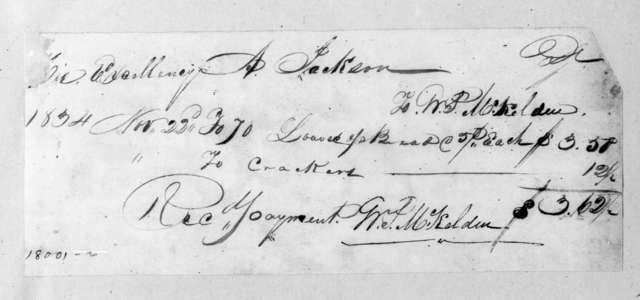 William P. McKelden to Andrew Jackson, November 22, 1834