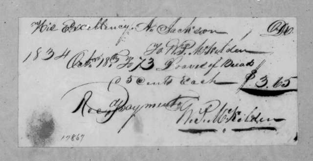 William P. McKelden to Andrew Jackson, October 18, 1834