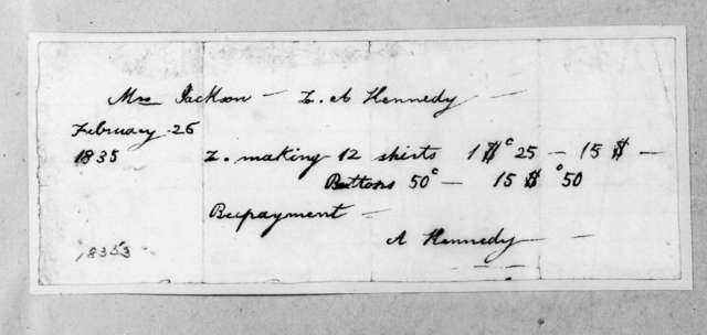 A. Kennedy to Sarah Yorke Jackson, February 26, 1835