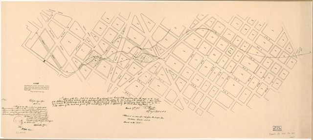 A map exhibiting the position of two lines located with a view to the extension of the Baltimore & Washington Rail Road within the city of Washington /