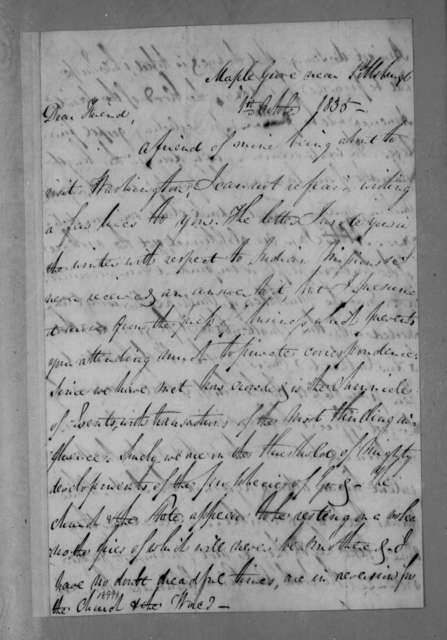 Allan Ditchfield Campbell to Andrew Jackson, October 1, 1835